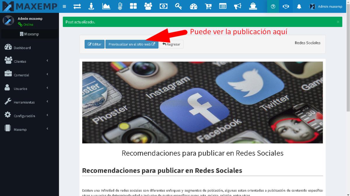 Ayuda Maxemp - Publicación de contenido en Blog/Noticias